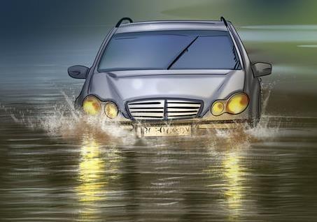 Hình 3-20: Lái xe qua đường ngập nước